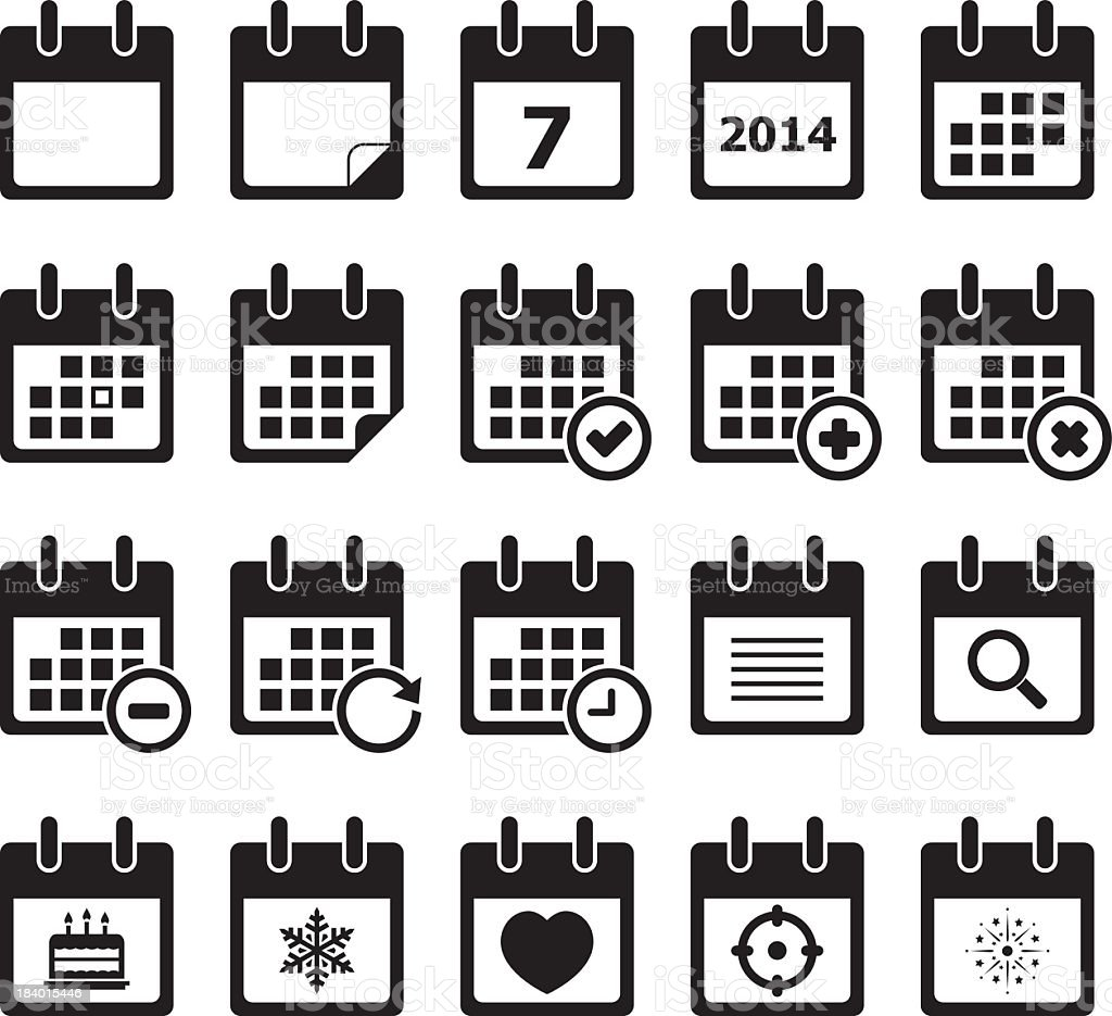 Twenty calendar black and white icons vector art illustration