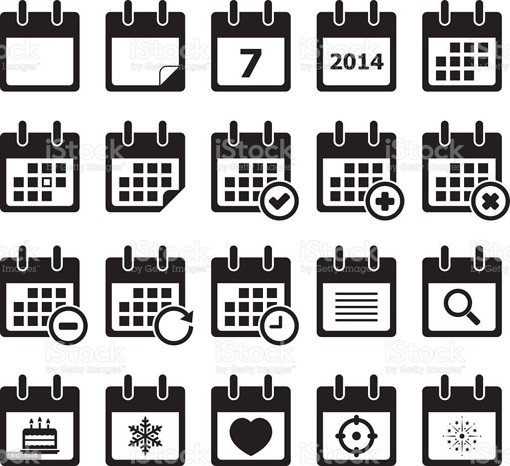 Twenty calendar black and white icons vector art illustration