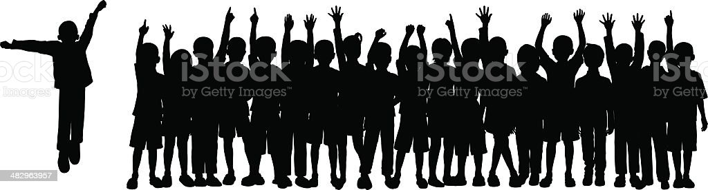 Twenty Children (Children Are Moveable and Complete) vector art illustration