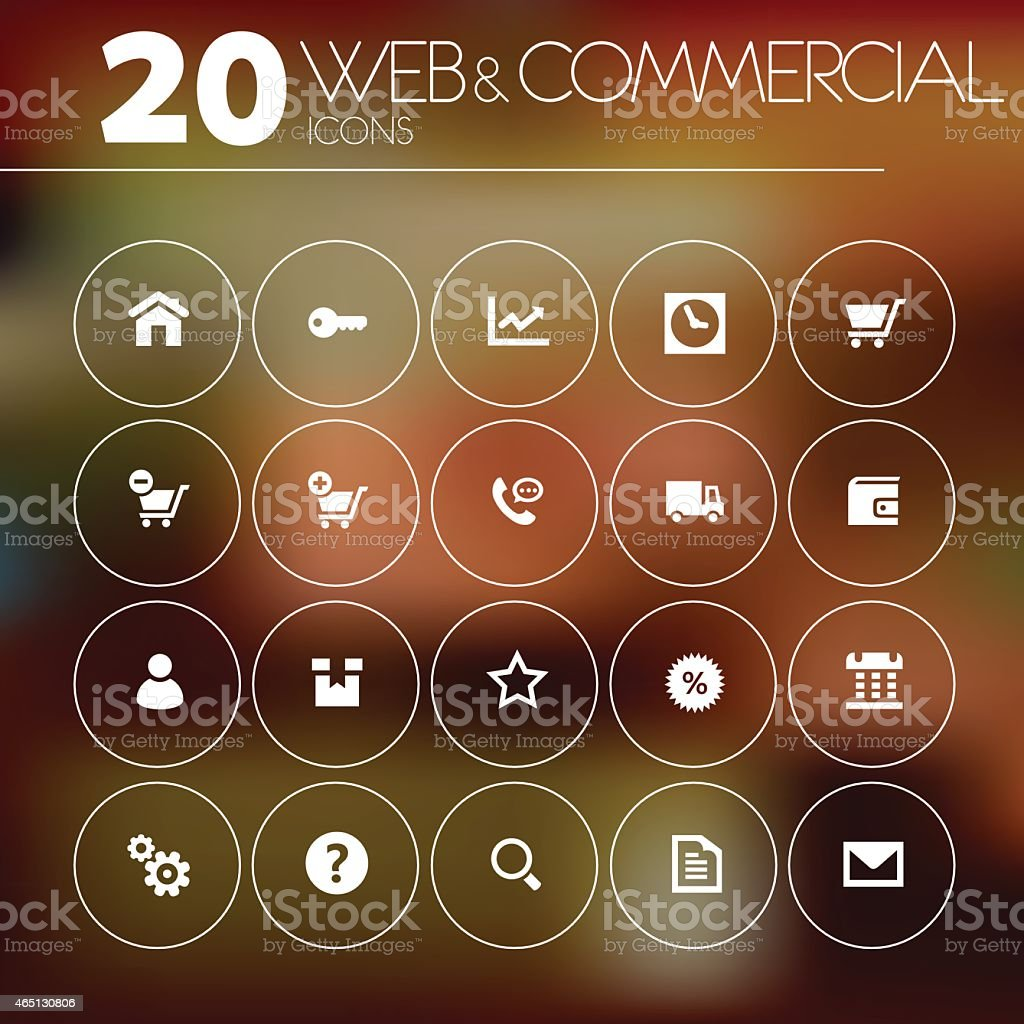 Twenty different simple thin web and commercial icons vector art illustration