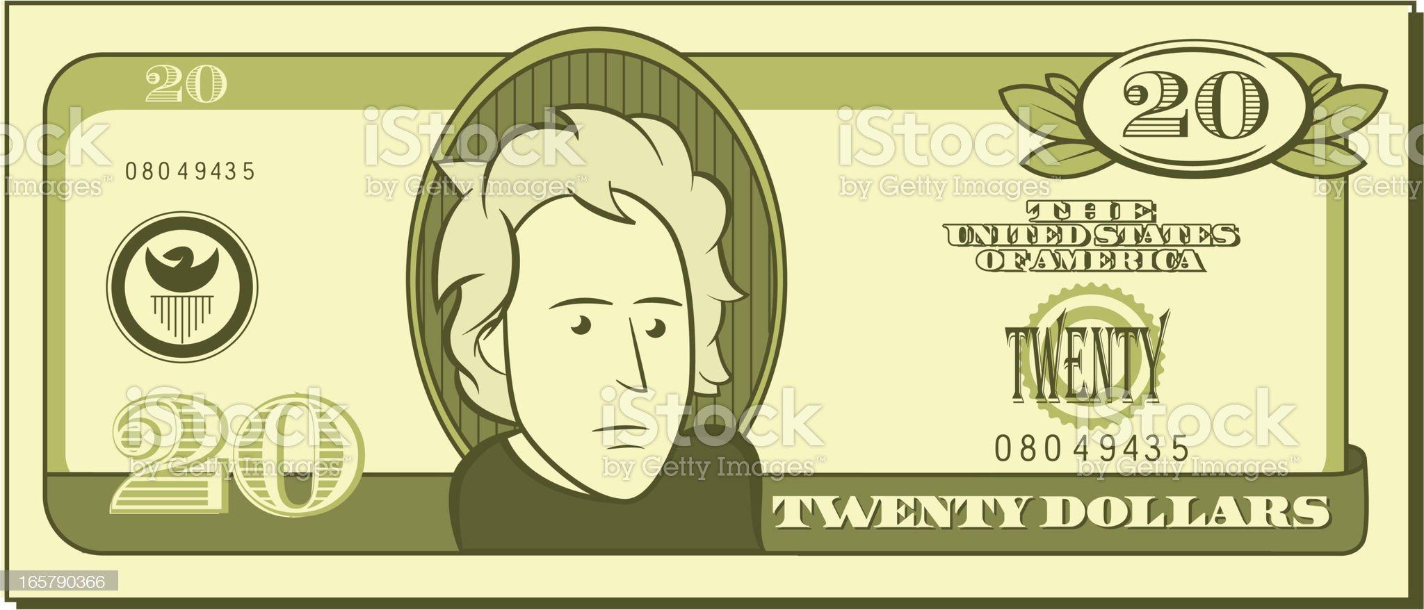 Twenty Dollar Bill - Cartoon royalty-free stock vector art