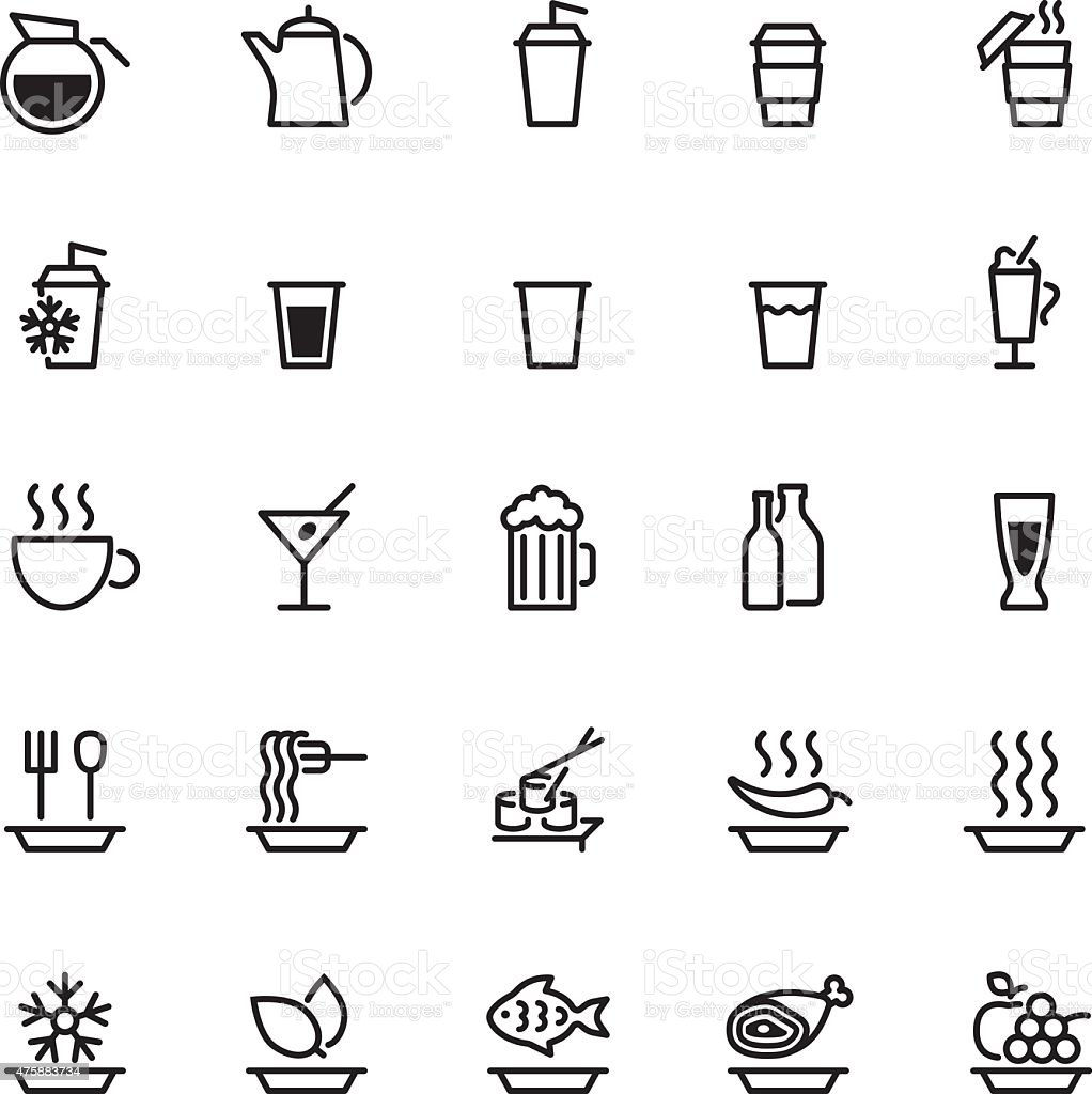 twenty five black food icons isolated on white vector art illustration