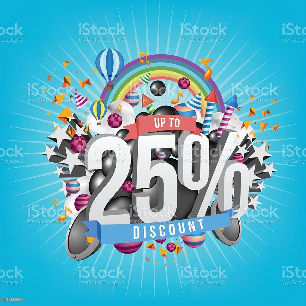 twenty five percent discount royalty-free stock vector art
