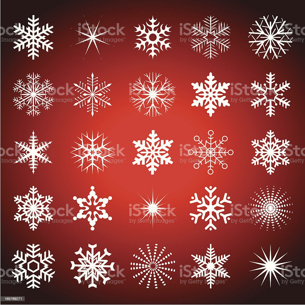 Twenty five snowflakes on a red background all different royalty-free stock vector art