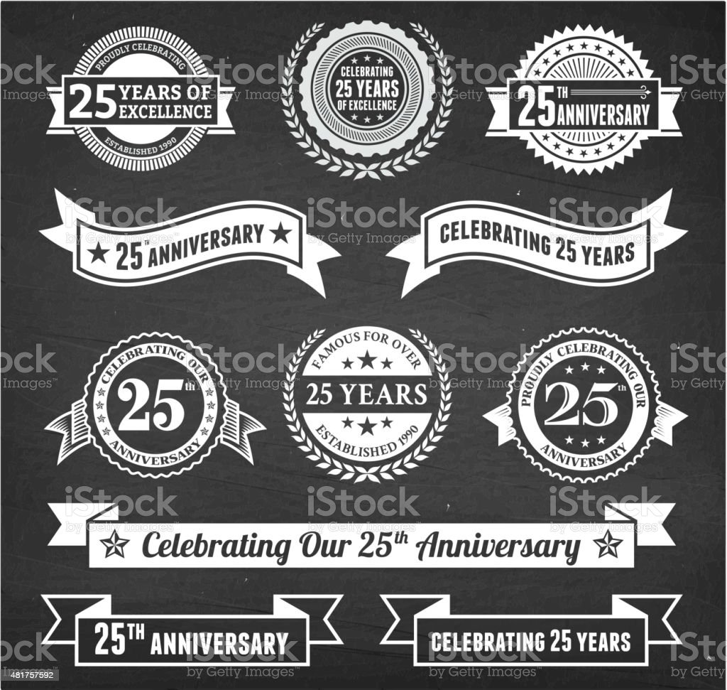 twenty five year anniversary hand-drawn chalkboard royalty free vector background vector art illustration