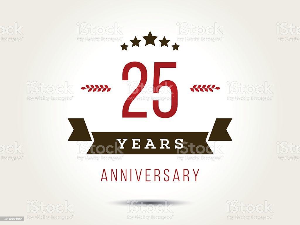 Twenty five years anniversary celebration logotype. 25th anniversary logo. vector art illustration
