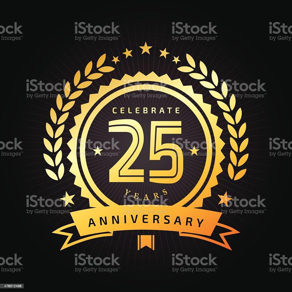 Twenty Five years Anniversary emblem vector art illustration