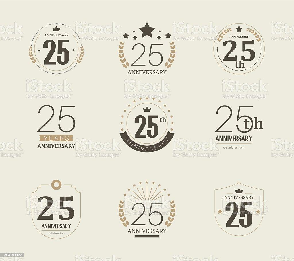 Twenty five years anniversary logo. 25th anniversary vintage logotype. vector art illustration