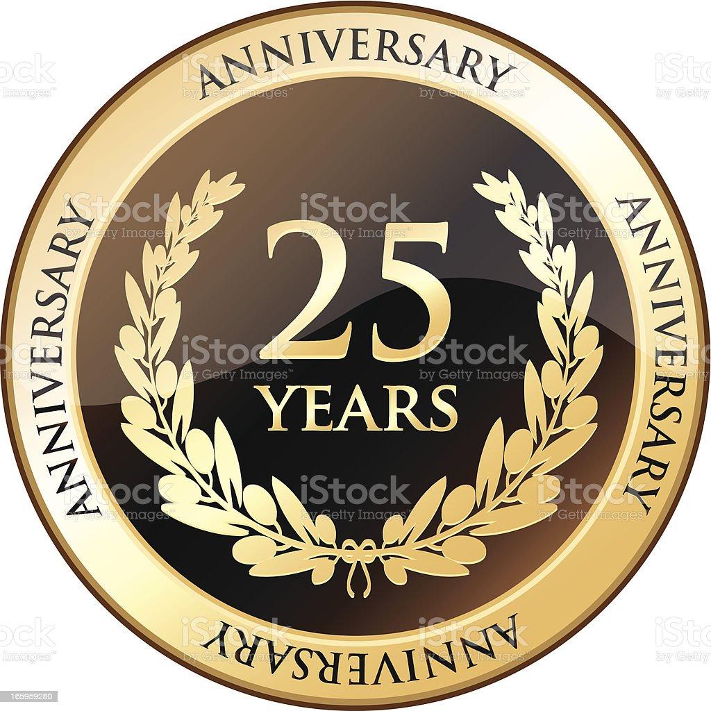 Twenty Five Years Anniversary Shield vector art illustration