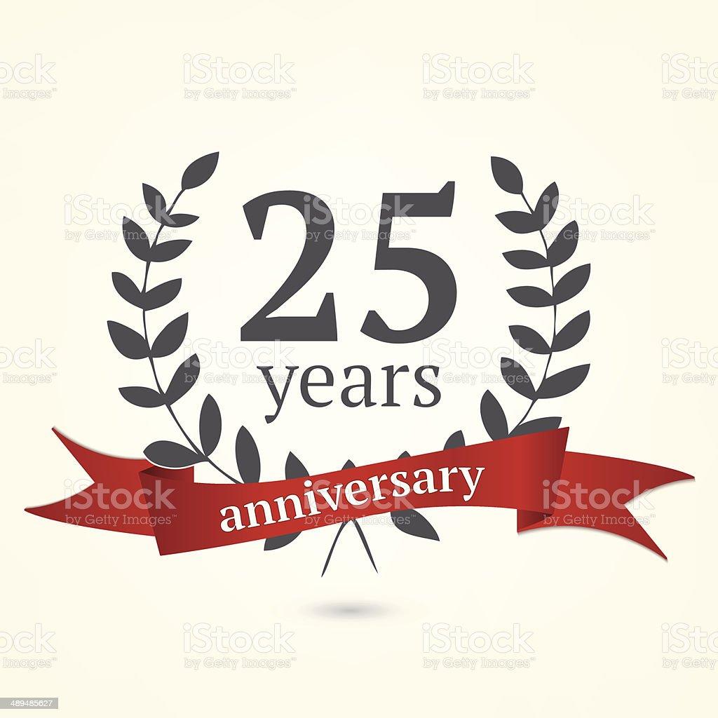 Twenty Five years anniversary sign vector art illustration