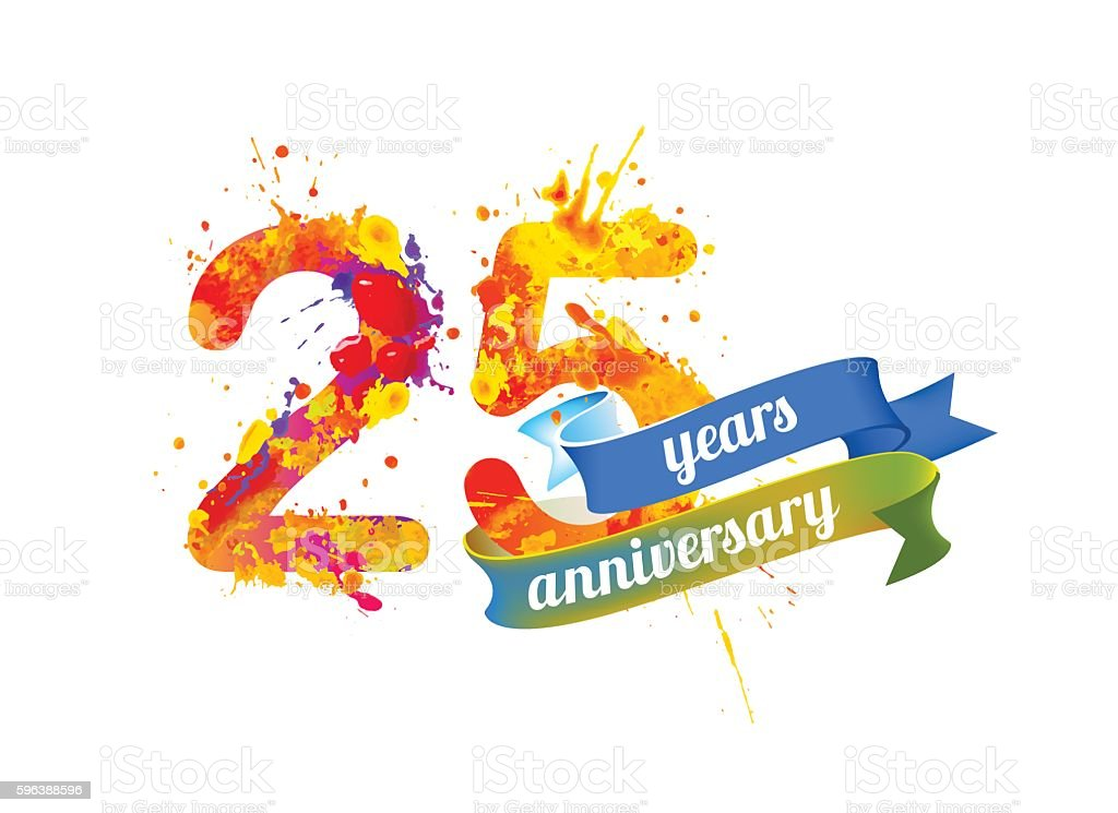 twenty five years anniversary vector art illustration