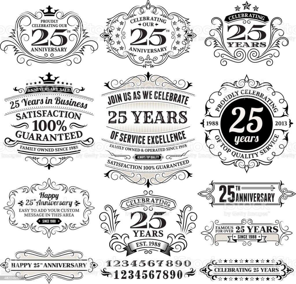 Twenty Five Years Black and White Anniversary Label Collection vector art illustration