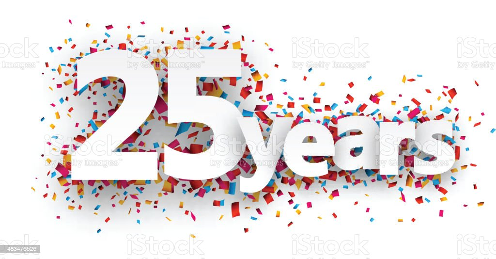 Twenty five years paper confetti sign vector art illustration