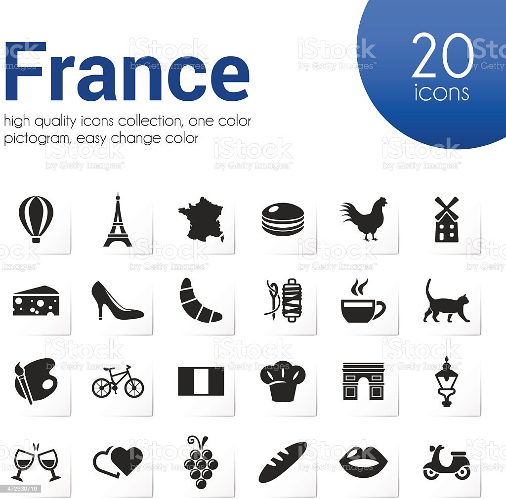 Twenty four black and white icons representing France vector art illustration