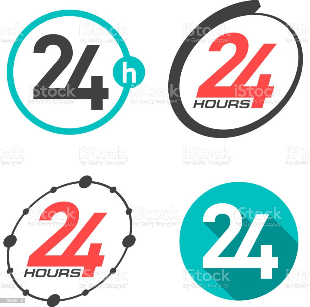 Twenty four hours a day icons vector art illustration
