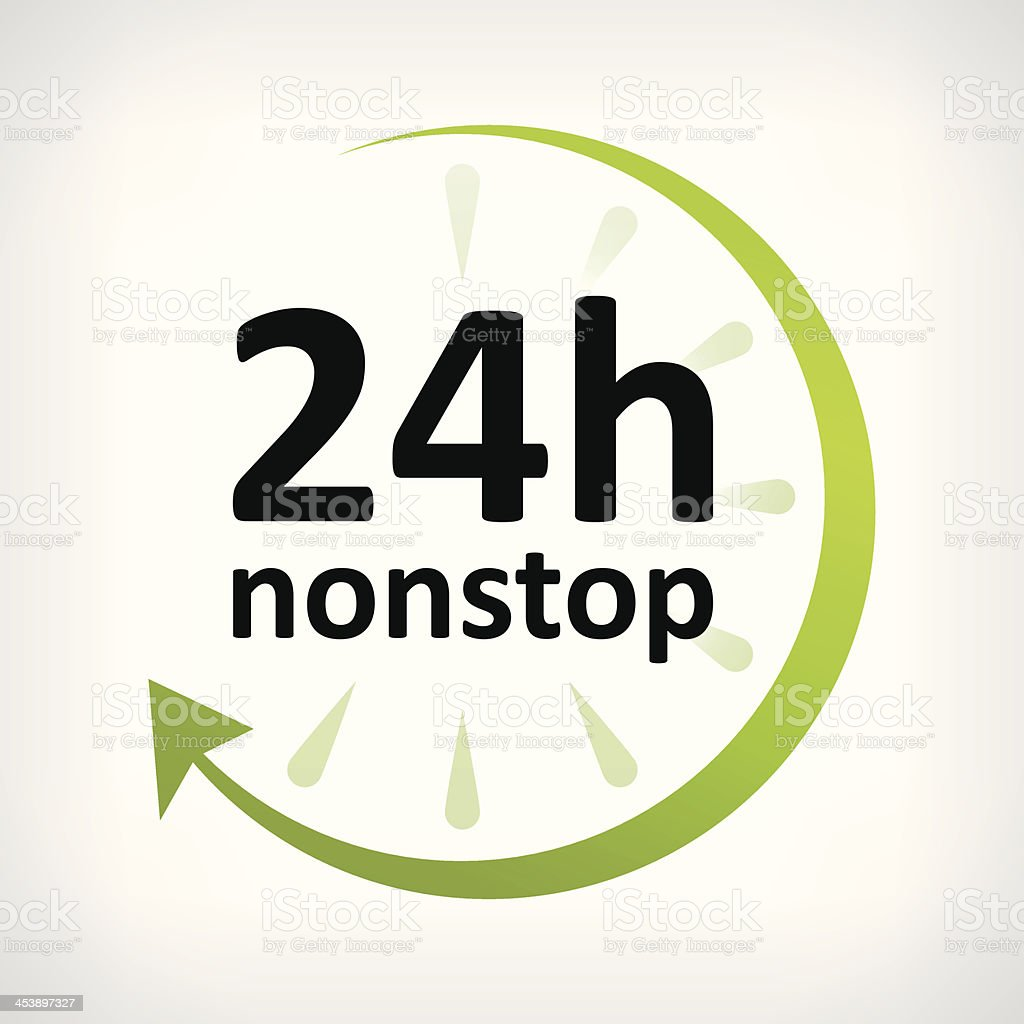 twenty four hours nonstop open icon customer support vector art illustration
