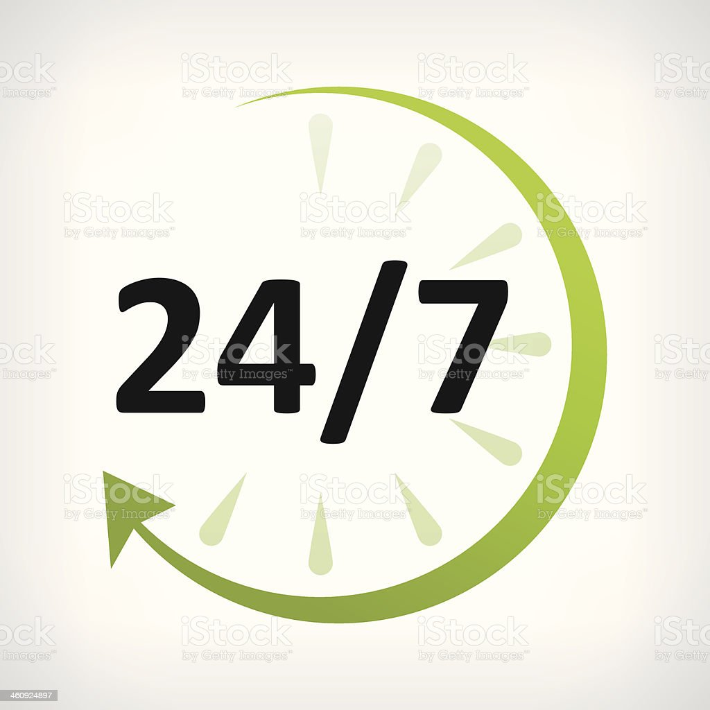 twenty four hours open icon vector art illustration