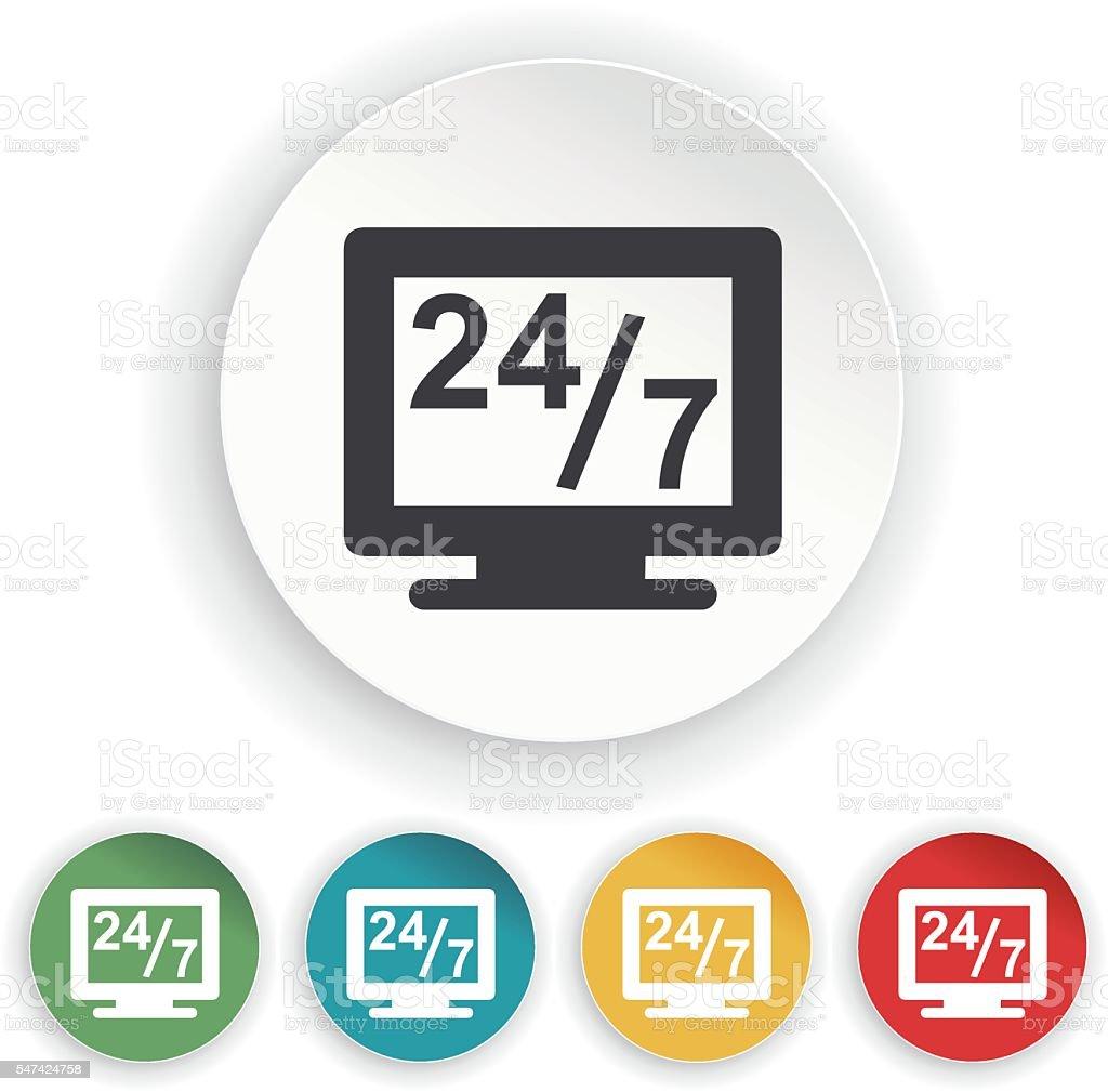 Twenty four seven service icon vector art illustration