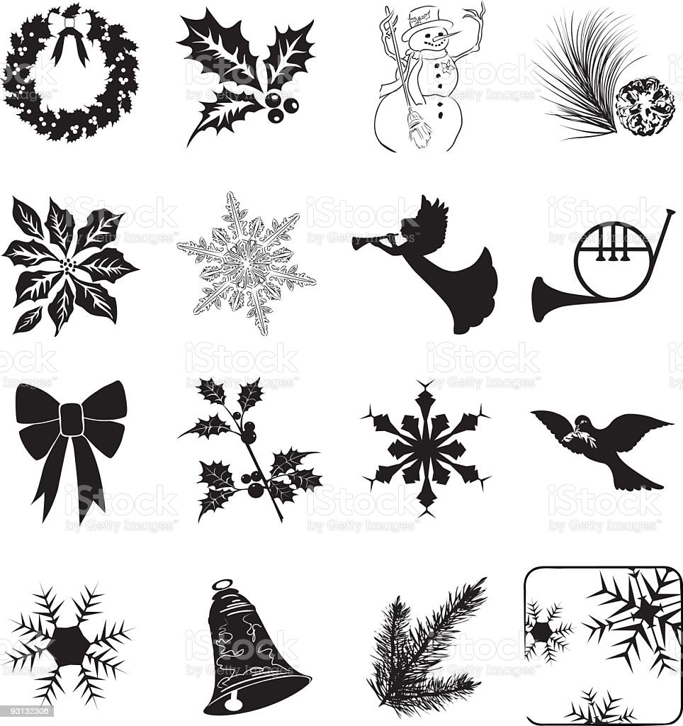 Twenty isolated winter and holiday icons Clipart on white. royalty-free stock vector art