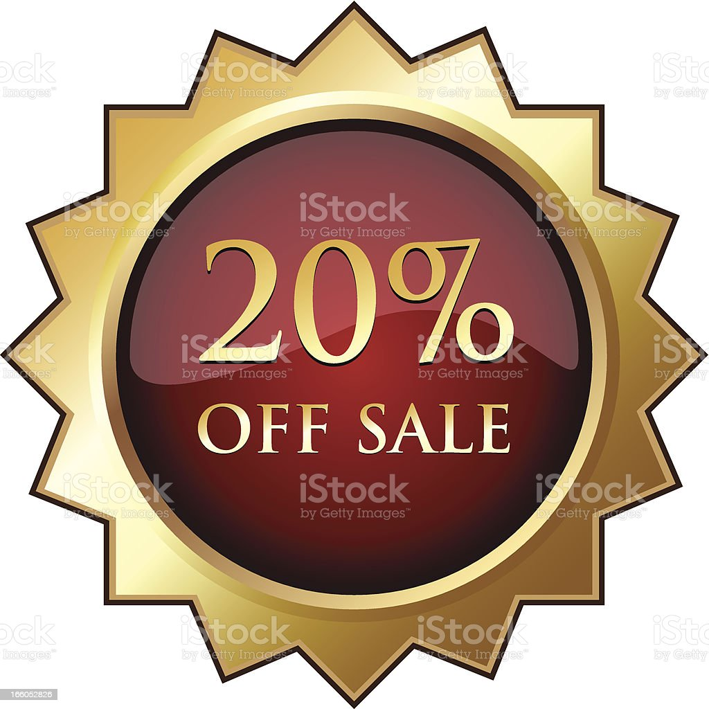 Twenty Percent Off Sale Badge royalty-free stock vector art