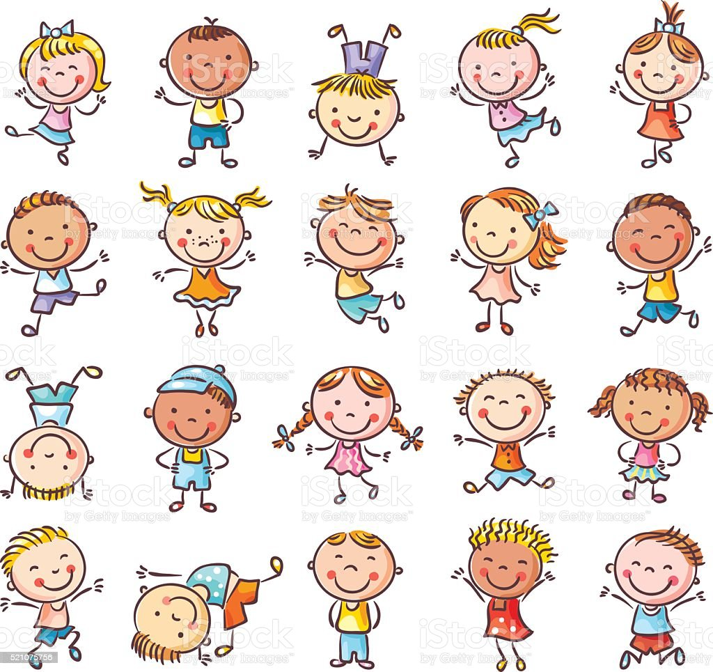 Twenty sketchy happy kids jumping with joy vector art illustration