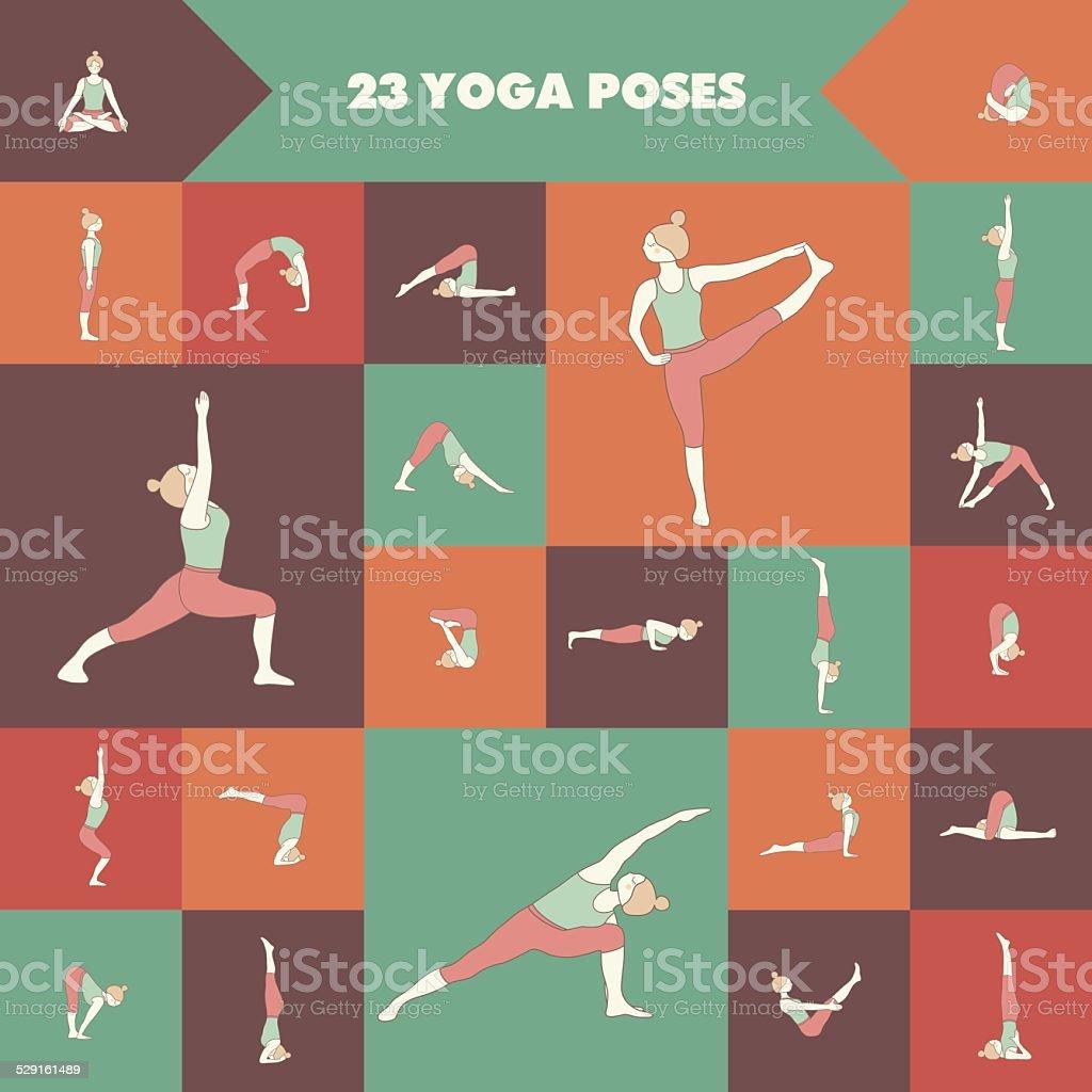 Twenty three yoga poses vector art illustration