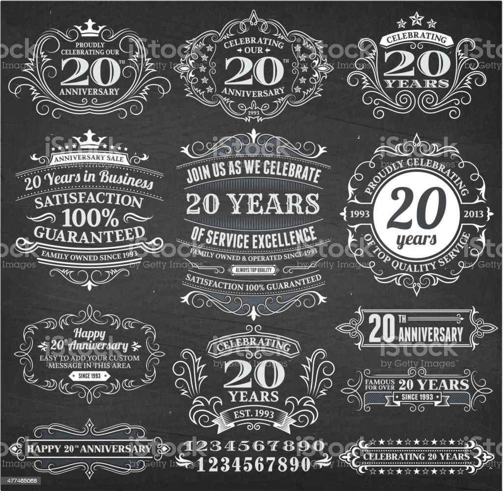 twenty year anniversary hand-drawn chalkboard royalty free vector background vector art illustration