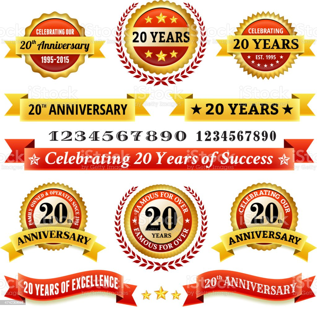 twenty year anniversary royalty free vector background with golden badges vector art illustration