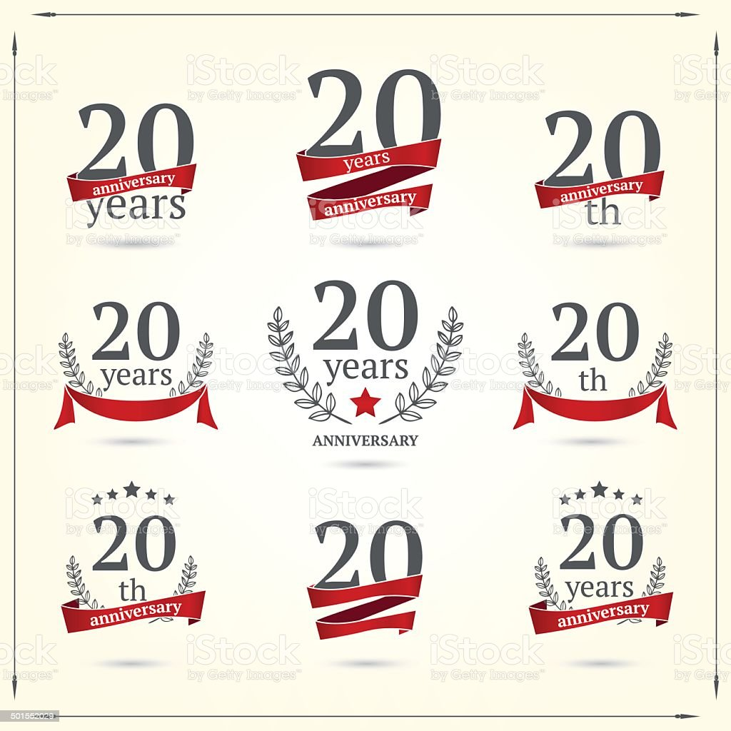 Twenty years anniversary icons collection vector art illustration