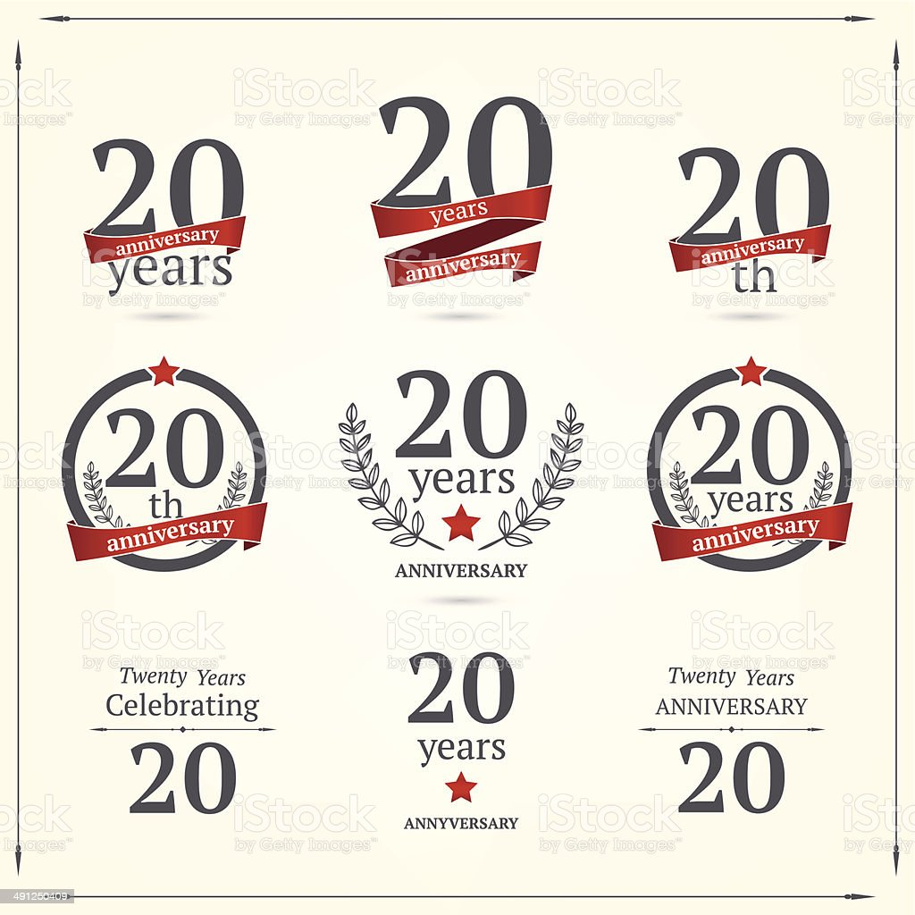 Twenty years anniversary set vector art illustration