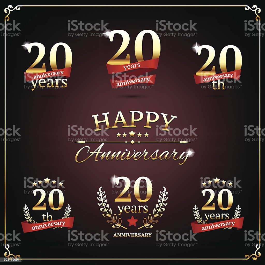 Twenty years anniversary signs collection vector art illustration