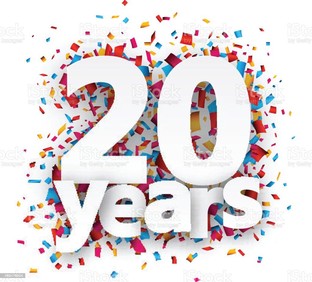 Twenty years paper confetti sign vector art illustration