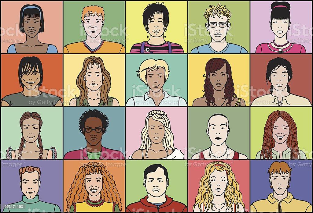 Twenty young people royalty-free stock vector art