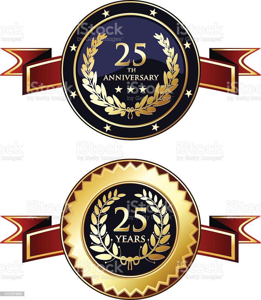 Twenty-fifth Anniversary Medals vector art illustration