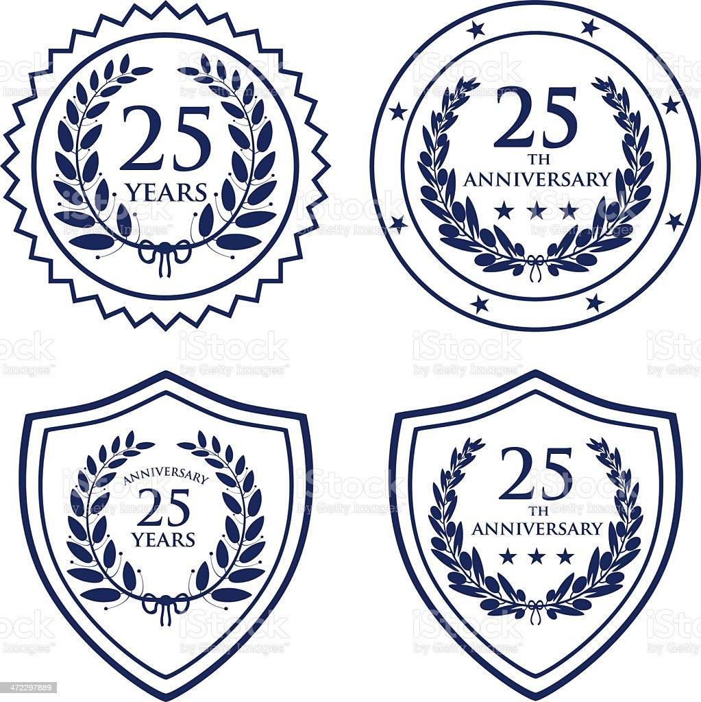 Twenty-fifth Anniversary Seals royalty-free stock vector art