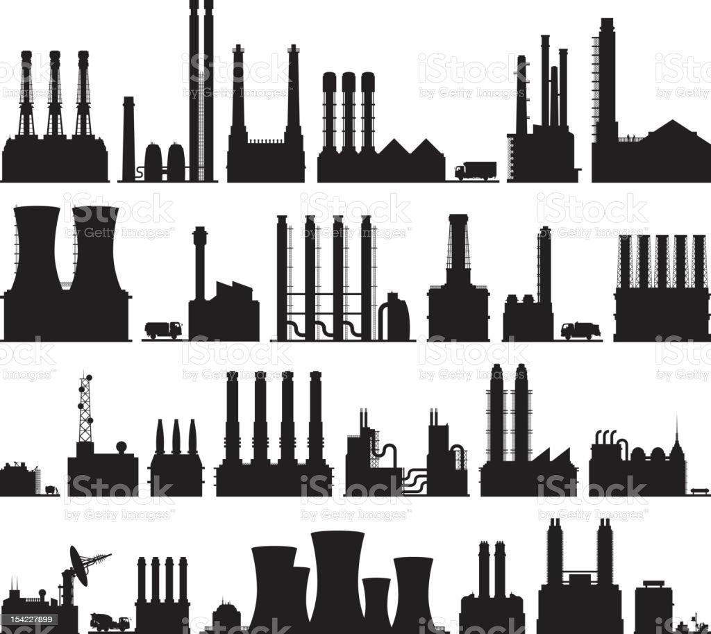 Twenty-Five Factories vector art illustration