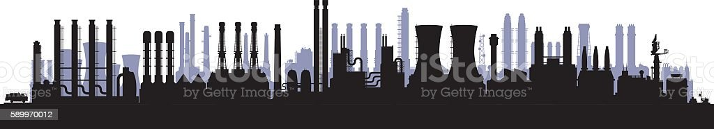 Twenty-Five Factories (Buildings Are Highly Detailed, Moveable and Complete) vector art illustration