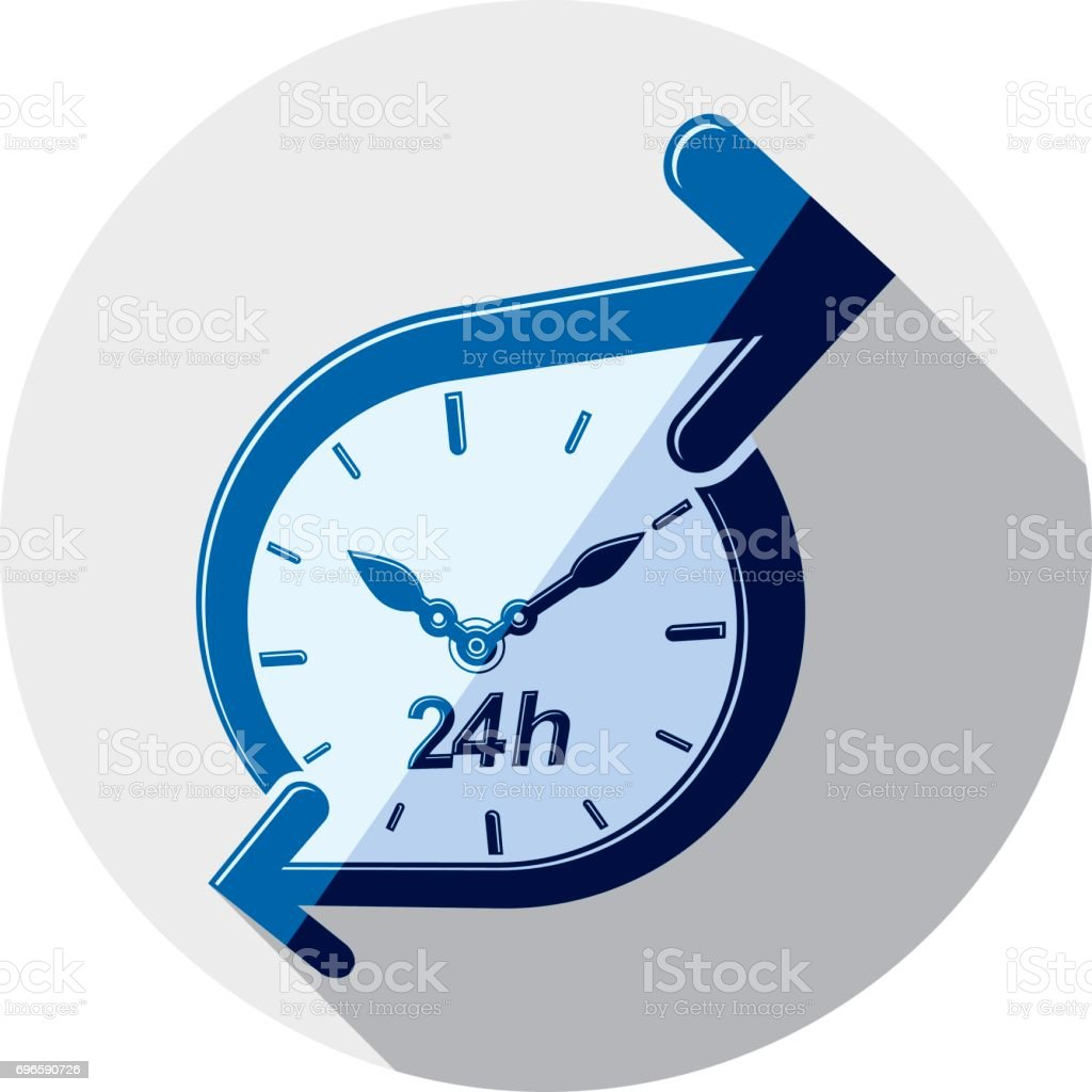 Twenty-four hours a day interface icon.  Time is running out idea symbol isolated on white, for use in advertising. vector art illustration