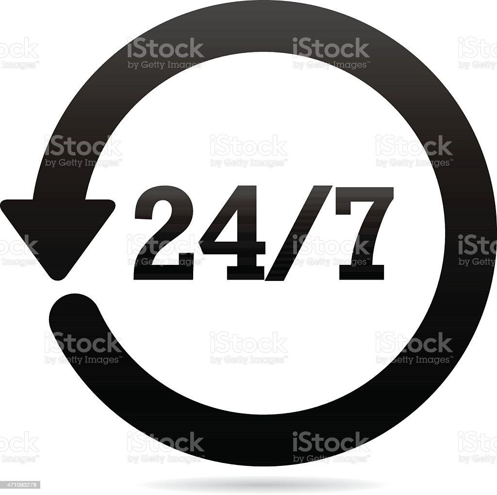 Twenty-four Hours Seven Days Symbol vector art illustration