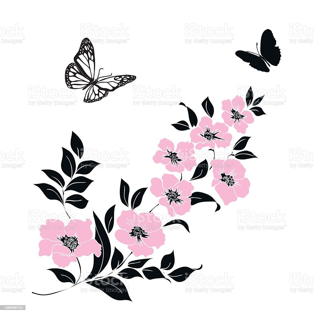 twig cherry blossoms and butterflies vector art illustration