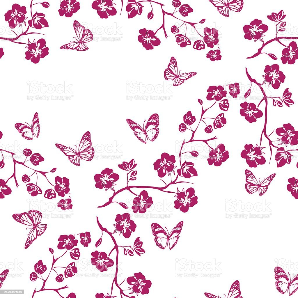 Twig cherry blossoms and butterfly. Seamless vector art illustration