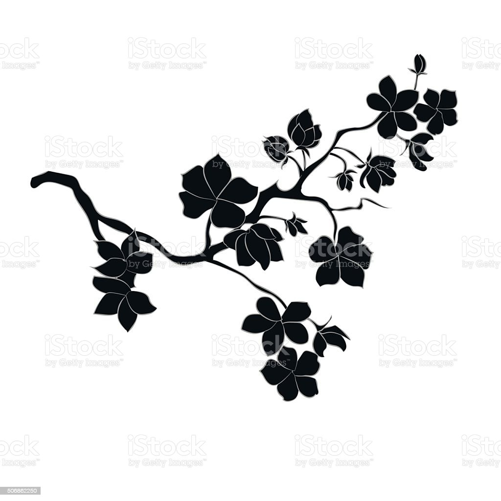 twig cherry blossoms vector art illustration