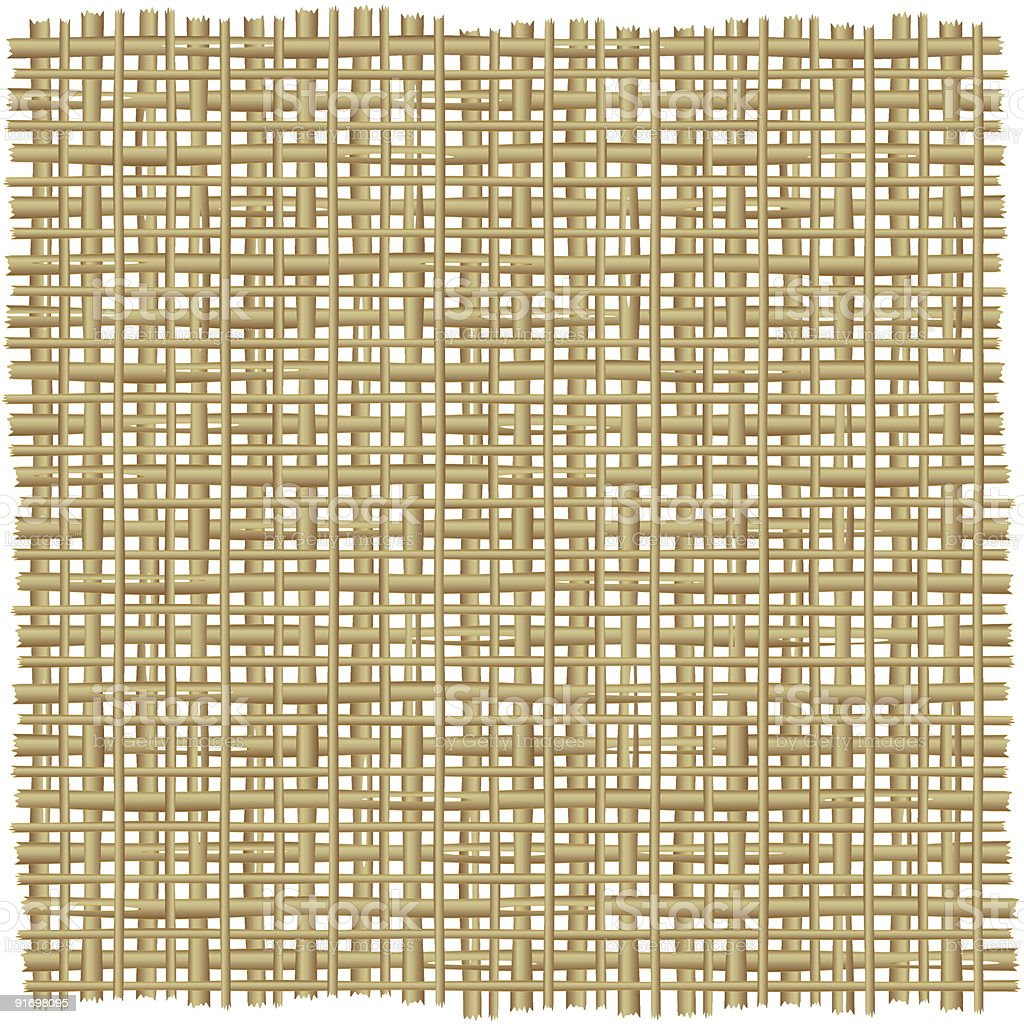 Twig, rattan, reed, rush, cane or straw mat background vector art illustration