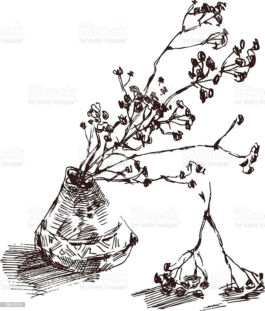 twigs in a vase royalty-free stock vector art