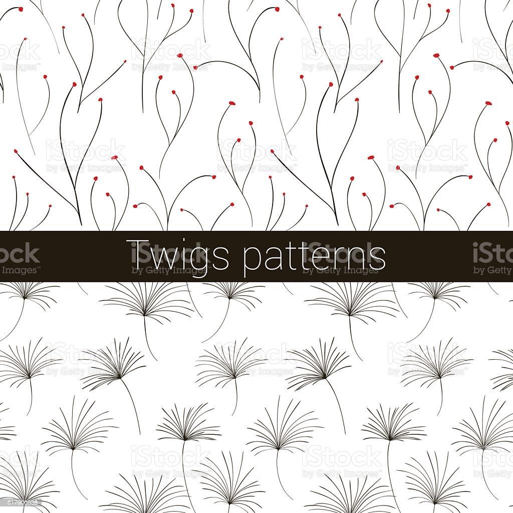 twigs patterns vector art illustration
