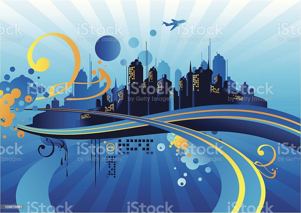 Twilight city vector art illustration