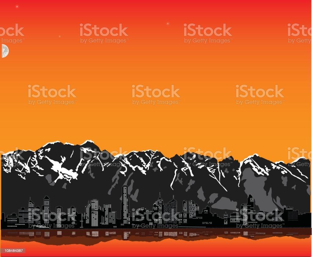 Twilight in the mountains vector art illustration