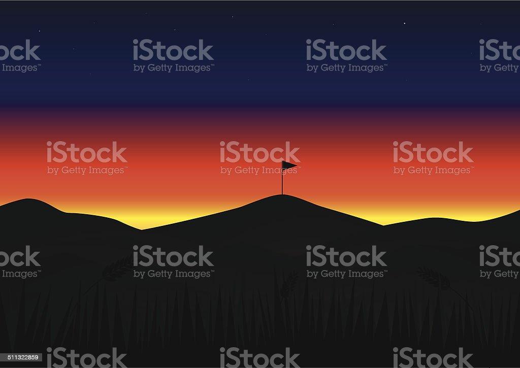 Coucher de soleil magnifique paysage avec drapeau vector arrière-plan. stock vecteur libres de droits libre de droits