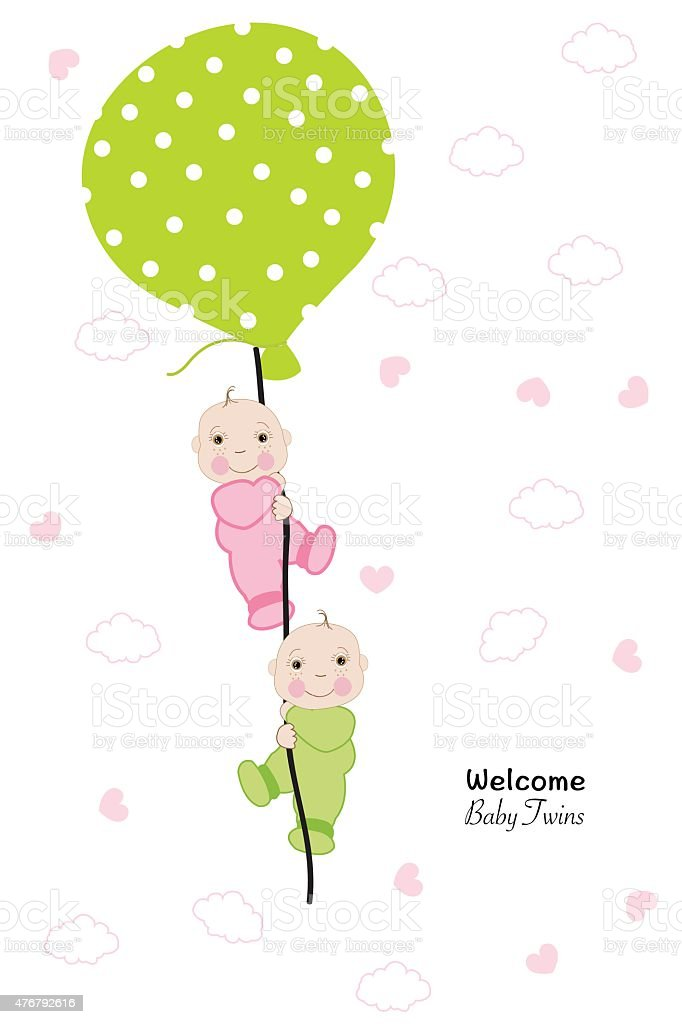 Twin baby hold balloon baby shower greeting card vector art illustration
