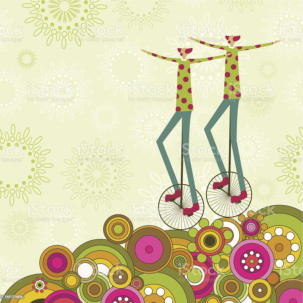 Twin clowns vector art illustration